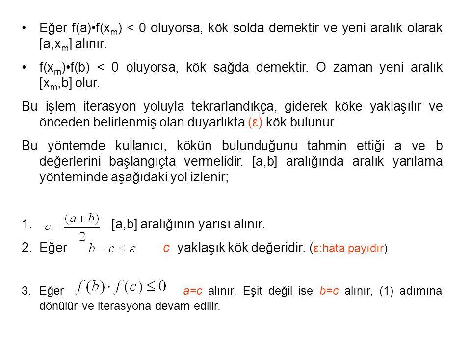[a,b] aralığının yarısı alınır.